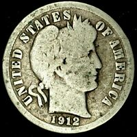 1912-D 10C BARBER DIME 90 SILVER 20LAT0418 70 CENTS SHIPPING