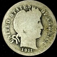 1911-P 10C BARBER DIME 90 SILVER 20LAC0418 70 CENTS SHIPPING