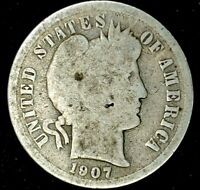 1907-P 10C BARBER DIME 90 SILVER 20LHL0220 70 CENTS SHIPPING