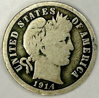 1914-D 10C BARBER DIME 90 SILVER 19LCO0809 70 CENTS SHIPPING