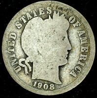1908-P 10C BARBER DIME 90 SILVER 20OTC0418 70 CENTS SHIPPING