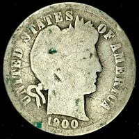 1900-P 10C BARBER DIME 90 SILVER 20LUH0418 70 CENTS SHIPPING
