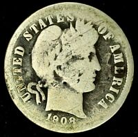 1908-D 10C BARBER DIME 90 SILVER 20LUH0418 70 CENTS SHIPPING