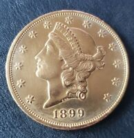 1899 $20 LIBERTY DOUBLE EAGLE GOLD COIN    BEAUTIFUL