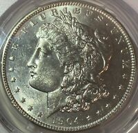 1904 $1 MORGAN SILVER DOLLAR PCGS MINT STATE 61 GORGEOUS COIN AWESOME LUSTER