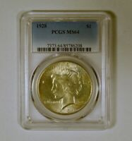 1928-P UNCIRCULATED SILVER PEACE DOLLAR PHILADELPHIA MINT GRADED MINT STATE 64 BY PCGS