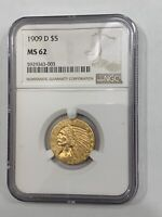 1909 D $5 GOLD INDIAN NGC MS62