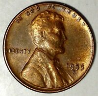 1953-S 1C LINCOLN WHEAT CENT AU RED 18RR0711 70 CENTS SHIPPING