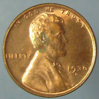 GEM RED 1936 D LINCOLN WHEAT CENT   ONE TONING SPOT ON LINCOLN'S HEAD