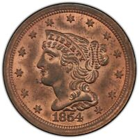 1854 BRAIDED HAIR HALF CENT PCGS MINT STATE 64RB CAC, PREMIUM QUALITY