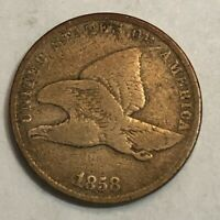 1858 SMALL LETTERS FLYING EAGLE COPPER-NICKEL U.S. CENT, VG-F, UD1
