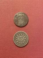 1867-70 SHIELD NICKELS 2 DIFFERENT