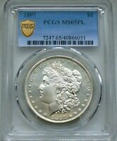 1897 $1 MORGAN SILVER DOLLAR  PCGS MINT STATE 65 PL-PROOFLIKE- EXCEPTIONAL GEM-