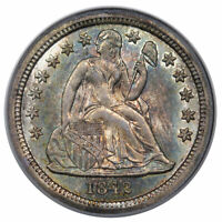 1842 O SEATED DIME PCGS MINT STATE 62 GOLD CAC, AMAZING EYE APPEAL