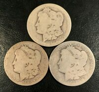1882, 1883, 1890 CARSON CITY CC MORGAN SILVER DOLLARS, GREAT FOR LOW BALL SET