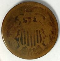 1865-P 2C COPPER TWO CENT PIECE 17HHA1212 70 CENTS SHIPPING