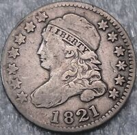 1821 10C CAPPED BUST DIME EARLY DIME 90  SILVER 3974