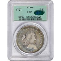 Click now to see the BUY IT NOW Price! 1797 $1 F12 10X6 OGH PCGS CAC DRAPED BUST DOLLAR TONED COLOR