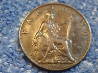 ENGLAND  BLACKENED FARTHING: 1901 IN ABOUT LY FINE CONDITION