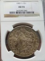 1889 S MORGAN SILVER DOLLAR NGC AU 55 - DARK PATINA ON OBVERSE