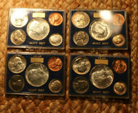 4  1964 P SPECIAL MINT SET   SILVER QUARTER AND HALF DOLLAR