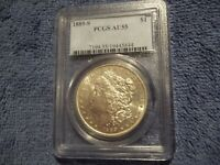 1889-S PCGS AU55 MORGAN SILVER DOLLAR STRONG DETAILS
