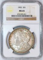 1902 MORGAN SILVER DOLLAR - NGC MINT STATE 65 - GEM MORGAN WITH COLOR