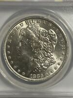 1883-O $1 MORGAN SILVER DOLLAR ANACS MINT STATE 63  WHITE COIN