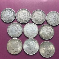 LOT OF 10 SILVER DOLLARS:  7 MORGAN & 3 PEACE DOLLARS ESTATE