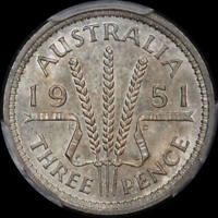 1951-PL THREEPENCE CHOICE UNC PCGS MINT STATE 63