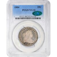 Click now to see the BUY IT NOW Price! 1804 25C VG10 PCGS CAC KEY DRAPED BUST QUARTER