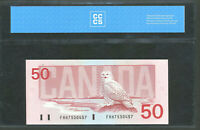 1988 $50 BANK OF CANADA UNC 64 CCCS CERTIFIED. BC 59A. NEAR GEM UNCIRCULATED.