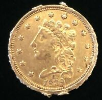 1839 C $2.5 LIBERTY GOLD COIN.  UNCERTIFIED.  RARE.  NR.