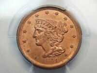 1851 1/2C BRAIDED HAIR HALF CENT MINT STATE 64RD PCGS, NEAR TOP POP WOW REALLY RED
