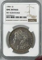 1904 MORGAN SILVER DOLLAR  NGC  UNC DETAILS  REV SCRATCHED   TONED BEAUTY
