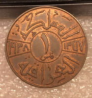 1938 IRAQ ONE FIL COIN EXCELLENT RED CONDITION