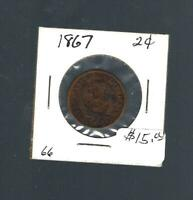 1867 TWO CENT COIN