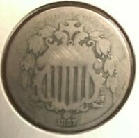 1867 NO RAYS SHIELD NICKEL - UNGRADED - UNCERTIFIED - MAKE OFFER -  COIN