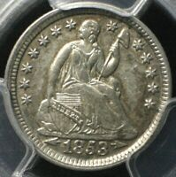 1853 ARROWS SEATED LIBERTY HALF DIME  PCGS AU53  H10C EARLY TYPE SILVER COIN