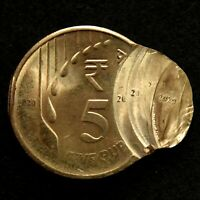 INDIA NEW BRAILE SERIES RS.5/  BRASS COIN MULTIPLE STRIKE ER