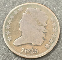 1825  CLASSIC HEAD COPPER   HALF CENT   LOW MINTAGE