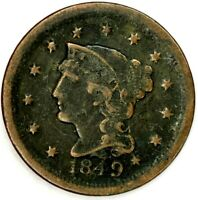 1849-P 1C BRAIDED HAIR LARGE CENT 20ATO0207