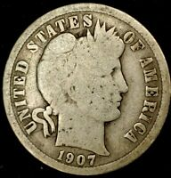 1907-P 10C BARBER DIME 90 SILVER 20LUS0428 70 CENTS SHIPPING