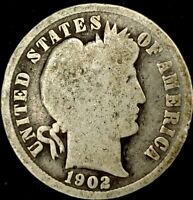 1902-P 10C BARBER DIME 90 SILVER 20LUS0428 70 CENTS SHIPPING