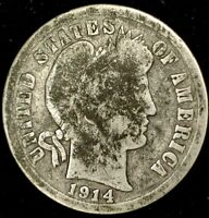 1914-P 10C BARBER DIME 90 SILVER 20LUS0428 70 CENTS SHIPPING