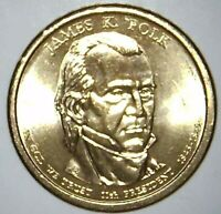 2009 P PRESIDENTIAL DOLLAR JAMES K POLK BU CLAD 21RR0213 70 CENTS SHIPPING