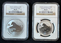 2 2010 P AUSTRALIA YEAR OF THE TIGER .999 SILVER COINS. 1  1