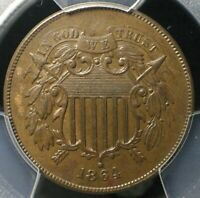 1864 2 CENT PIECE   PCGS AU58  BEAUTIFUL EARLY TYPE COPPER