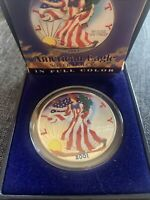 COLORIZED PAINTED  AMERICAN SILVER EAGLE 2001 PAINTED BOTH SIDES WALKING LIBERTY