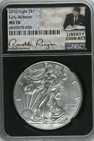 2018 SILVER EAGLE LIBERTY COIN ACT RONALD REAGAN NGC MS70 EARLY RELEASES